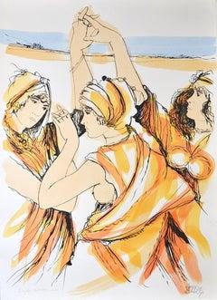 Oriental Dancers - Original Hand-Colored Lithograph by A. Quarto - 1985