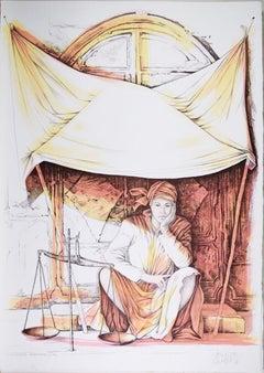 Libra - Original Hand-Colored Lithograph by A. Quarto - 1985