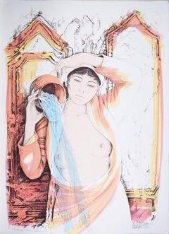 Aquarius - Original Hand-Colored Lithograph by A. Quarto - 1985