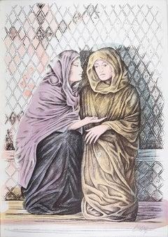Offer - Original Hand-Colored Lithograph by A. Quarto - 1980s