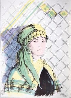 Oriental Woman - Original Hand-Colored Lithograph by A. Quarto - 1980s
