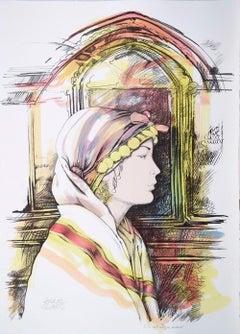 Oriental Woman's Profile - Original Hand-Colored Lithograph by A. Quarto - 1980s