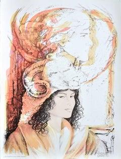 Aries - Original Hand-Colored Lithograph by A. Quarto - 1980s