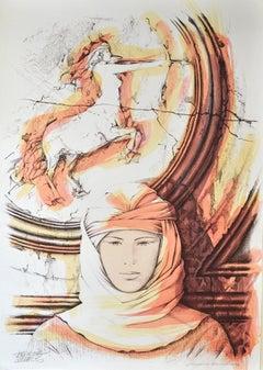 Sagittarius - Original Hand-Colored Lithograph by A. Quarto - 1980s