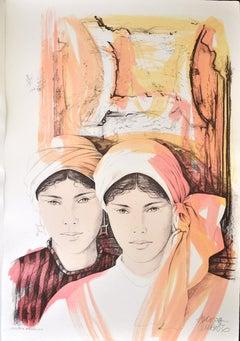 Gemini - Original Hand-Colored Lithograph by A. Quarto - 1980s