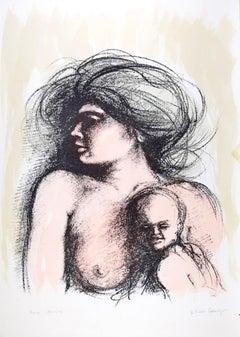 Motherhood - Original Lithograph by B.E. Callegari - 1980s