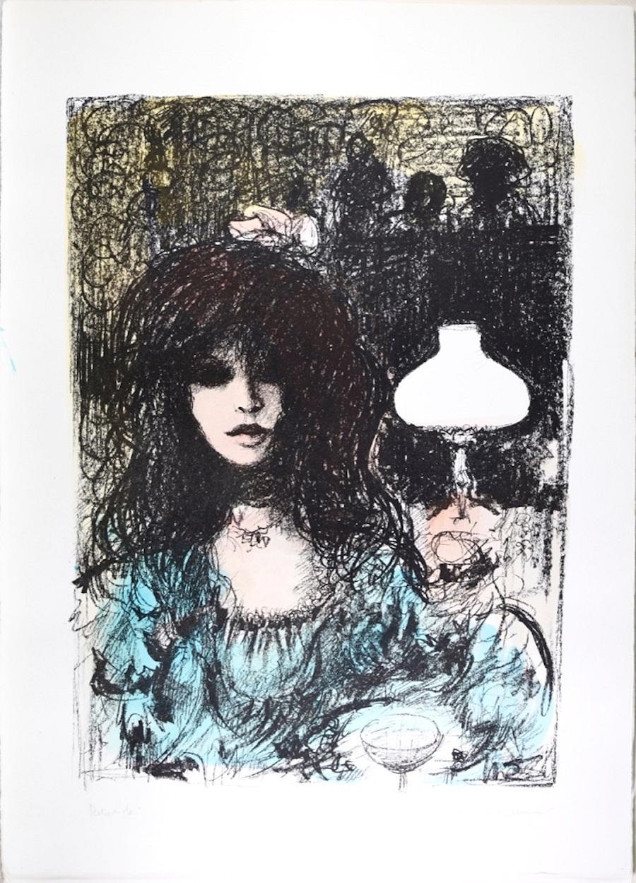 Woman at Bar - Original Lithograph by B.E. Callegari - 1980s