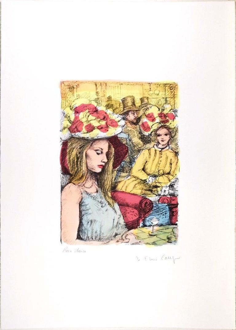 At the Bar - Original Lithograph by B.E. Callegari - 1980s - Print by Bruno Emiro Callegari