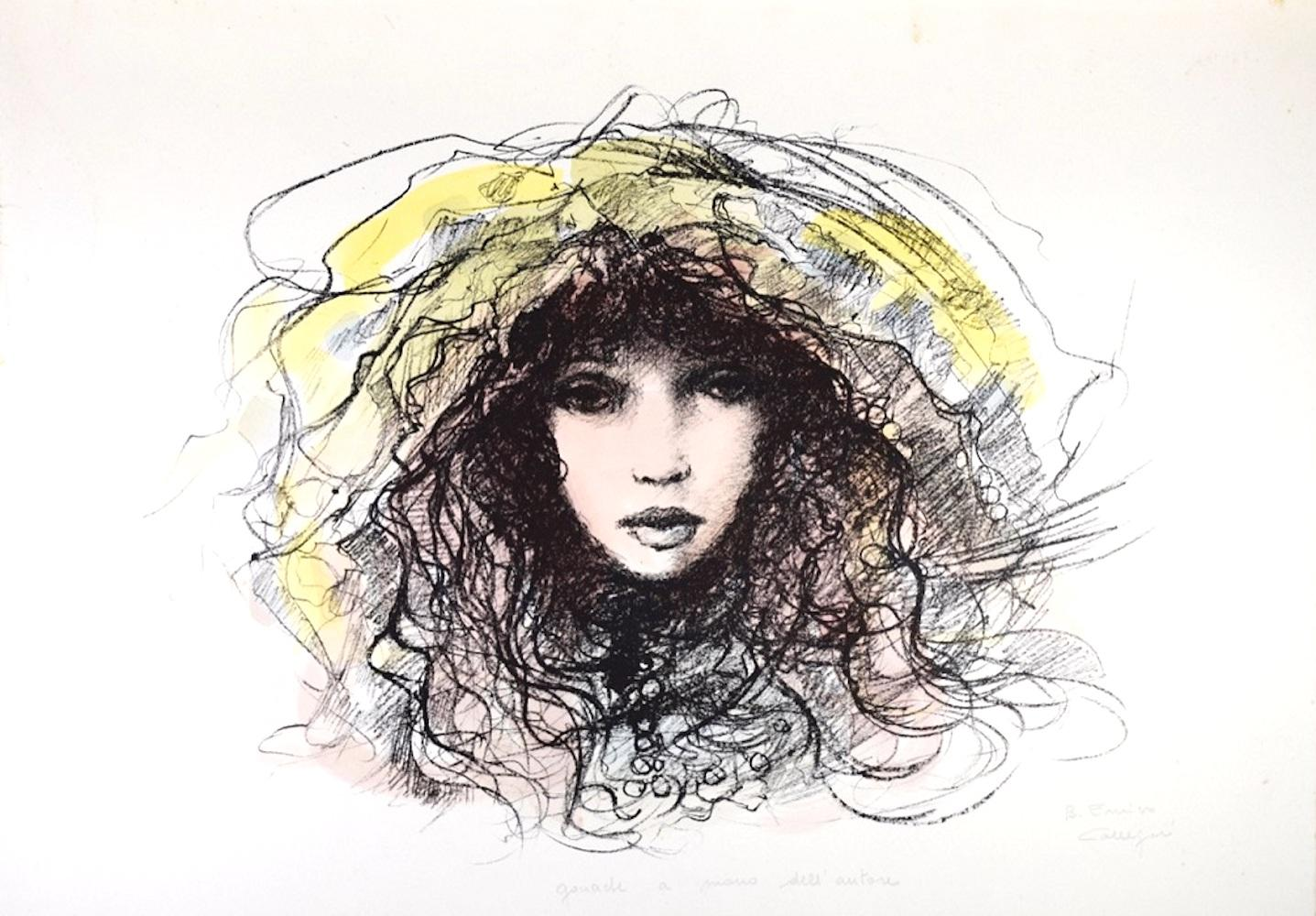 Face of Woman - Original Lithograph by B.E. Callegari - 1980s