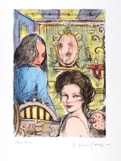 Women in a Bar - Original Lithograph by B.E. Callegari - 1980s