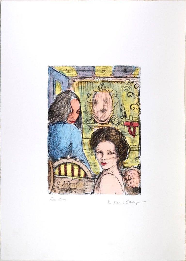 Women in a Bar - Original Lithograph by B.E. Callegari - 1980s - Print by Bruno Emiro Callegari