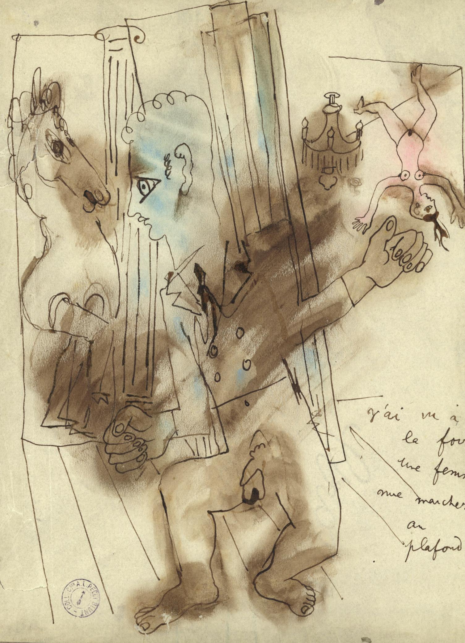 J'ai  Vu à la Foire une Femme Nue Marcher au Plafond - Drawing by J. Cocteau