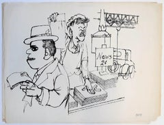 News Vendor, New York  - China Ink Drawing on Paper by G. Grosz - 1932