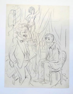 The Fifth Wheel - 1934  - China Ink Drawing on Paper by G. Grosz - 1934