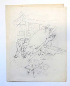 Pigs Slaughter on Land - Pencil Drawing on Paper by G. Grosz - 1929
