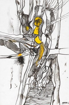 Composition 2 - Original Ink and Watercolor Drawing by A. Fabbri - 1952