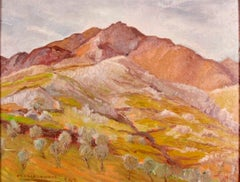 Landscape in Grey . Original Oil on Board by O. Amato - 1942