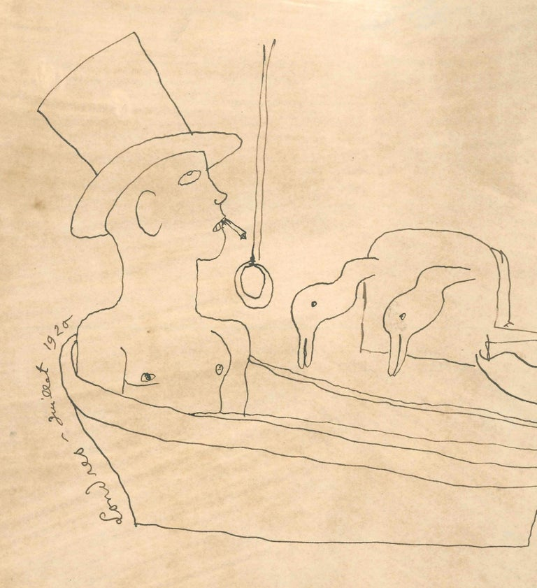 Londres - Original China Ink Drawing by J. Cocteau - 1920 - Art by Jean Cocteau