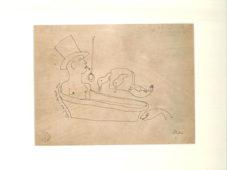 Londres - Original China Ink Drawing by J. Cocteau - 1920 - Modern Art by Jean Cocteau