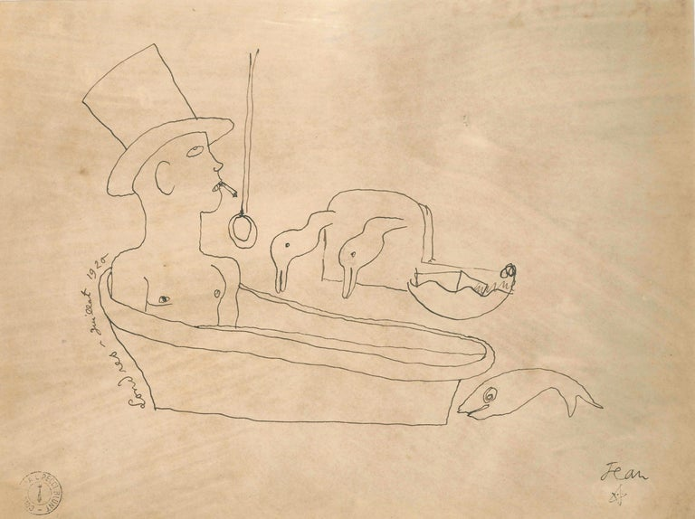 Jean Cocteau Interior Art - Londres - Original China Ink Drawing by J. Cocteau - 1920