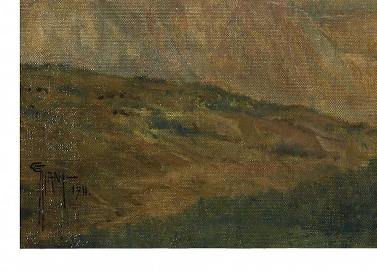 Mountain Landscape - Original Oil on Canvas by G. Giani - 1911 - Painting by Giovanni Giani