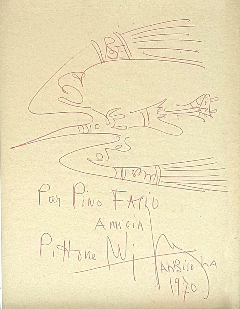 Wifredo Lam Abstract Drawing - Fresh sketch . Original Pen Drawing by W. Lam - 1970