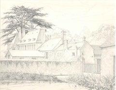 Les Granges de Port Royal - Original Pencil Drawing 1970s