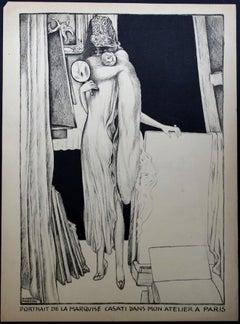 Portrait - Original Lithograph by A. Martini - 1925