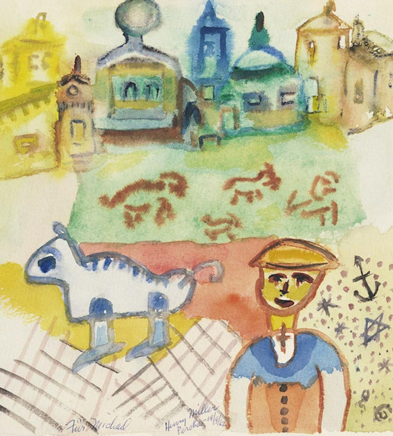 Percha - Pencil Drawing and Watercolor on Paper by Henry Miller - 1962 1