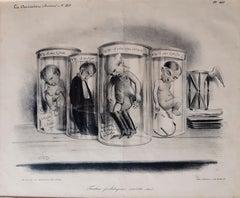 Foetus Politiques Morts-Nés - Original Lithograph by Foetus C.-J. Traviès - 1834
