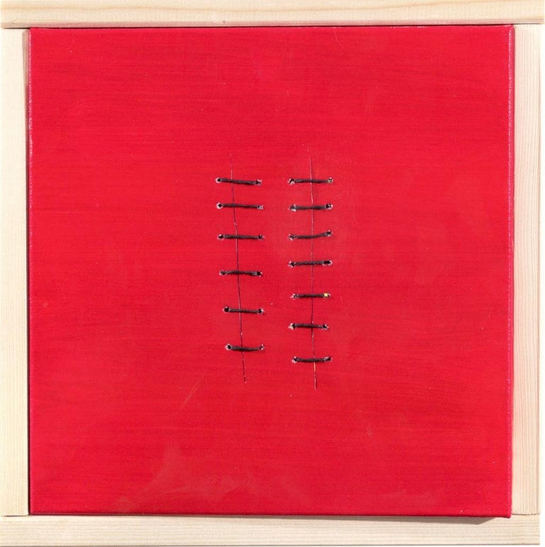 Seams on Red is an original artwork realized by the Italian contemporary artist Mario Bigetti in 2019.  Acrylic painting on canvas, twine and seams.  A minimal wood frame is included.  Mint conditions.  The artwork is realized with red acrylic