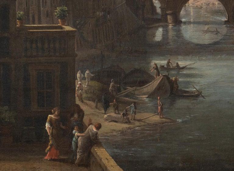 View of the Tiber, looking toward Castel Sant'Angelo and Saint Peter's Basilica  - Painting by Gaspar Van Wittel (Vanvitelli)