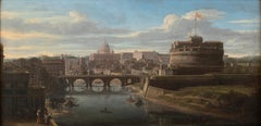 View of the Tiber, looking toward Castel Sant'Angelo and Saint Peter's Basilica