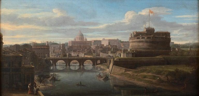 Gaspar Van Wittel (Vanvitelli) Figurative Painting - View of the Tiber, looking toward Castel Sant'Angelo and Saint Peter's Basilica