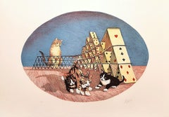 Cats Playing - Original Lithograph by G. Giuggioli - 1980