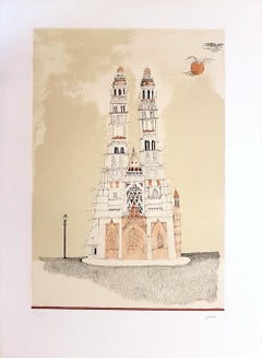 Cathedral of Dignes - Original Lithograph by Ossi Czinner - 1970s