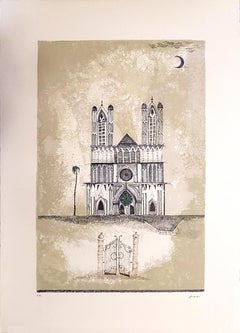 Cathedral - Original Lithograph by Ossi Czinner - 1970s