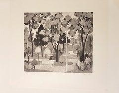 The Garden - Original Woodcut by Alberico Morena - 1958