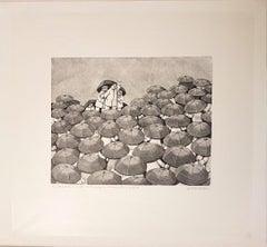 The Orator - Original Woodcut by Alberico Morena - 1971