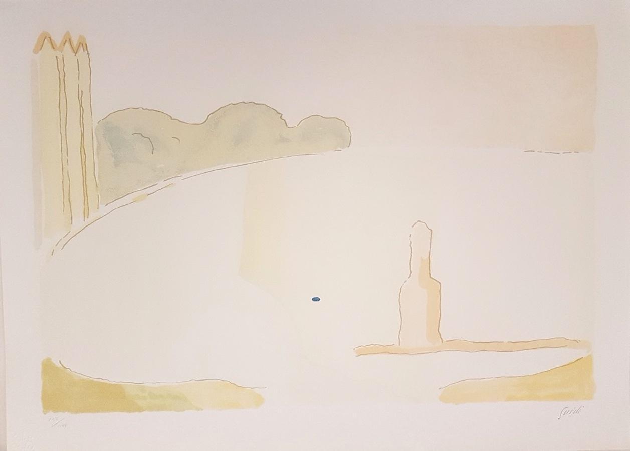 Scicli - Original Lithograph by Virgilio Guidi - 1970s