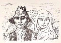 Peasants - Original Lithograph by Carlo Levi - 1970s
