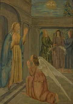 Annunciation - Original Oil on Canvas by Carlo Socrate - 1936