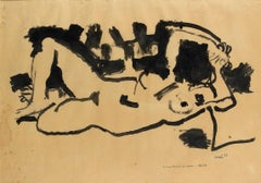 Lying Naked - Original Marker Drawing by Antonio Scordia - 1955