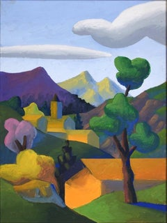 The Valley - Original Oil on Canvas by Salvo - Late 20th Century