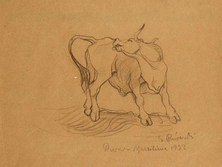 Bull  is an original drawing artwork realized by Giuseppe Rivaroli in 1932.  Pencil on paper  Signed and dated lower right  Giuseppe Rivaroli (Cremona, 1885- Rome, 1943).  The artist performs a series of masterpieces in Rome: in 1928 he frescoes the
