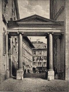 Geneva, Port de la Treille - Lithograph by A. Fontanesi - 1854