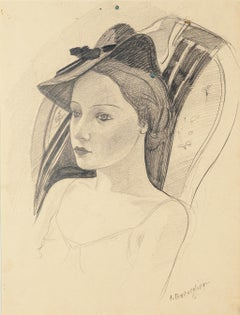 Woman with a Hat - Original Pencil Drawing by C. Breveglieri - 1930s