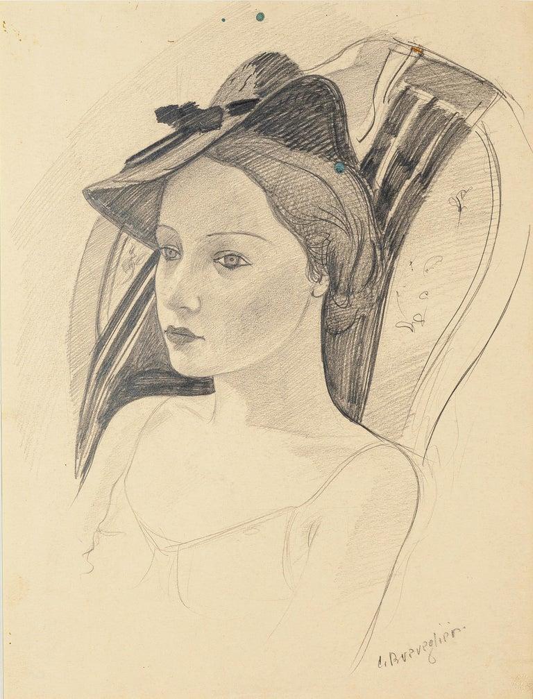 Cesare Breveglieri Portrait - Woman with a Hat - Original Pencil Drawing by C. Breveglieri - 1930s