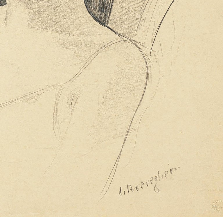 Woman with a Hat - Original Pencil Drawing by C. Breveglieri - 1930s - Art by Cesare Breveglieri