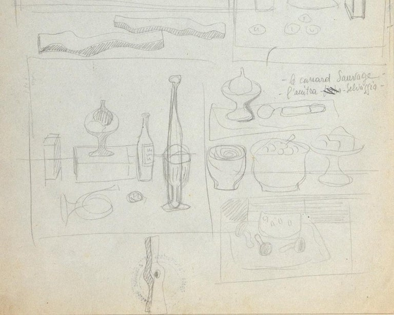 Colored Candles - Rosseau - Original Pencil Drawing by Atanasio Soldati - 1950s For Sale 1